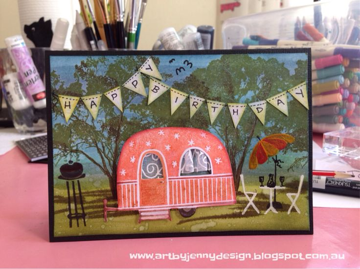Carved Caravans stamps with Gum Trees in the background. Handmade birthday banner with micro faux stitching :)
