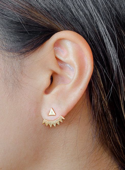 Gold Ear Jacket, Gold Plated Ear Cuff, Stud Triangle, Spiky Earjacket, Geometric Earrings, Minimalistic, Modern Jewelry, Gift, EJ001