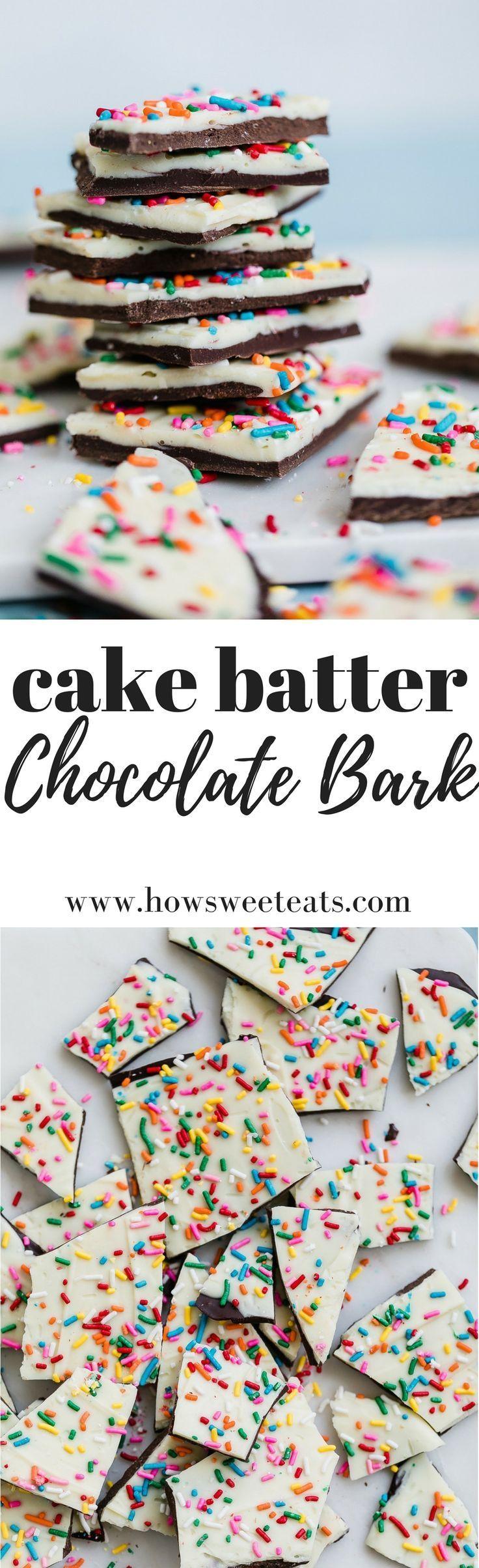 Cake Batter Chocolate Bark  | Posted By: DebbieNet.com