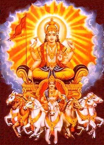 Surya como o Sol é adorado de madrugada pela maioria dos hindus e tem muitos templos dedicados a ele em toda a Índia. Ele também gosta de adoração como uma parte do Navagraha. Ele é especialmente adorado nos festivais hindus de Ratha Saptami , Makar Sankranti , Chhath e Samba Dashami . Ele também preside domingo.....