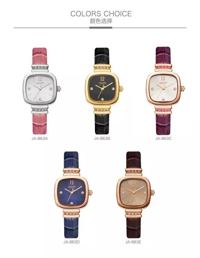 New Julius Lady Women's Wrist Watch Elegant Simple Square Fashion Hours Dress Bracelet Leather School Girl Birthday Gift