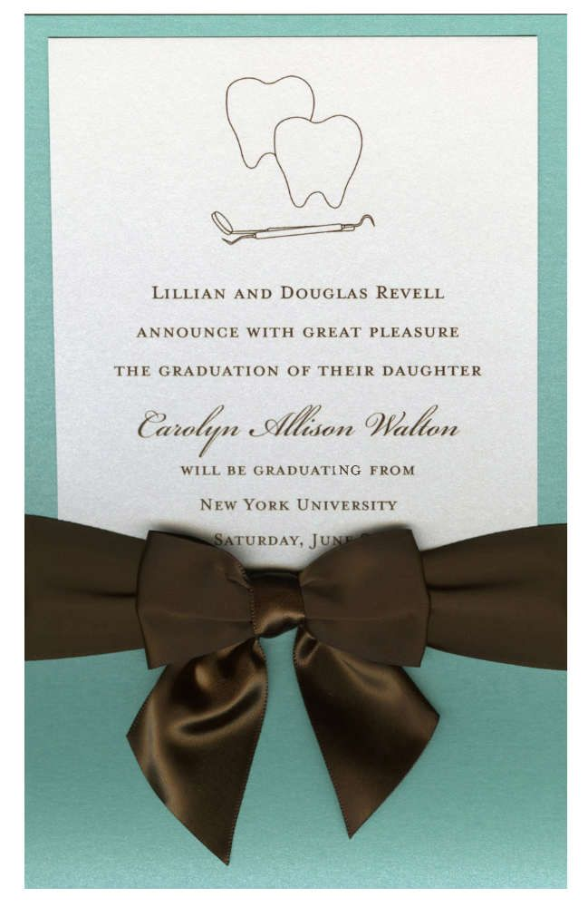 dental lagoon pocket with crystal card brown bow graduation invites - Graduation Invitations Pinterest