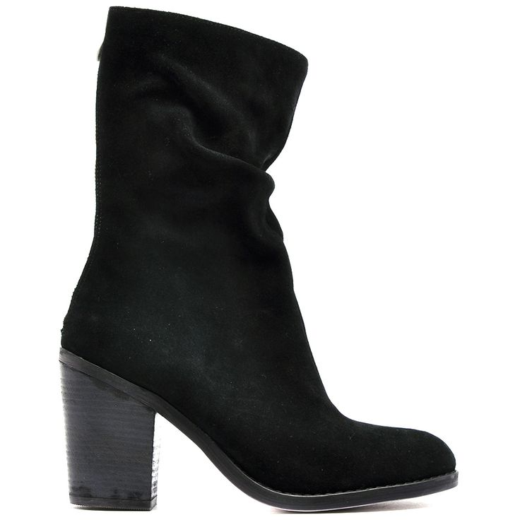 UNIVASH   Mollini 8 cm stack block heel calf boot with feature back zip and gathered shaft. Leather upper, leather lining and man made outsole. #mollini14