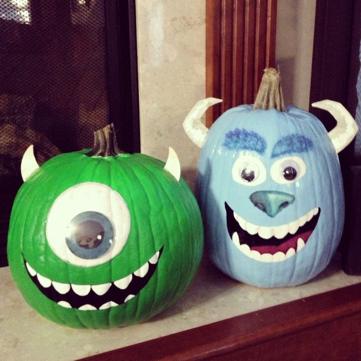 Mike & Sully pumpkins for our son's 3rd b-day party ...