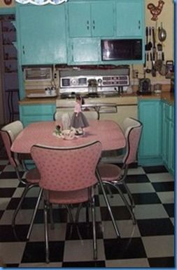 Retro Pink Kitchen Table And Chairs