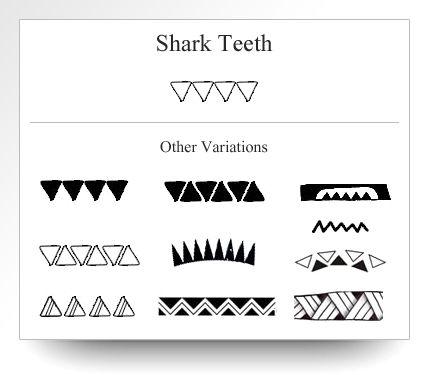 Variations of the shark teeth symbol as depicted on Atelier Leseine Tahitian carved black pearls.