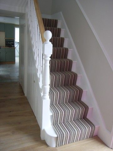 striped stair runner with oak hall floor