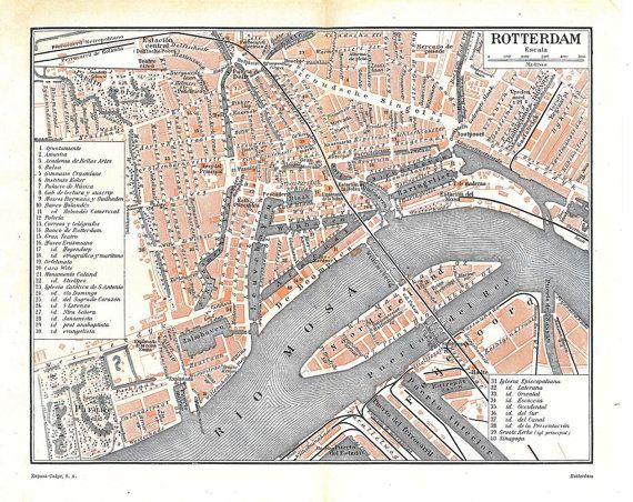 ≡ Vintage City Map Rotterdam Netherlands Street Plan1920s