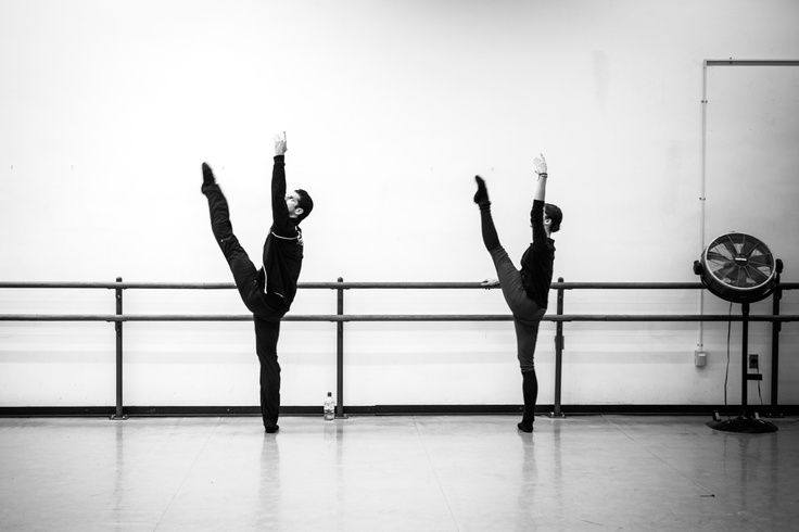 Dorothée Gilbert, Danseuse Étoile de l'Opéra National de Paris and Marcelo Gomez, Principal Dancer at the American Ballet Theatre, warming up at the barre. Lincoln center, New York. Photography by James Bort