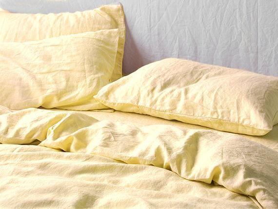 Pastel Yellow Linen Duvet Cover 1 Duvet Cover Softened Limen Comforter Cover Quilt Cover Coconut Buttons Ribbon Ties Linen Bedding Bed Linen Sets Linen Duvet Covers
