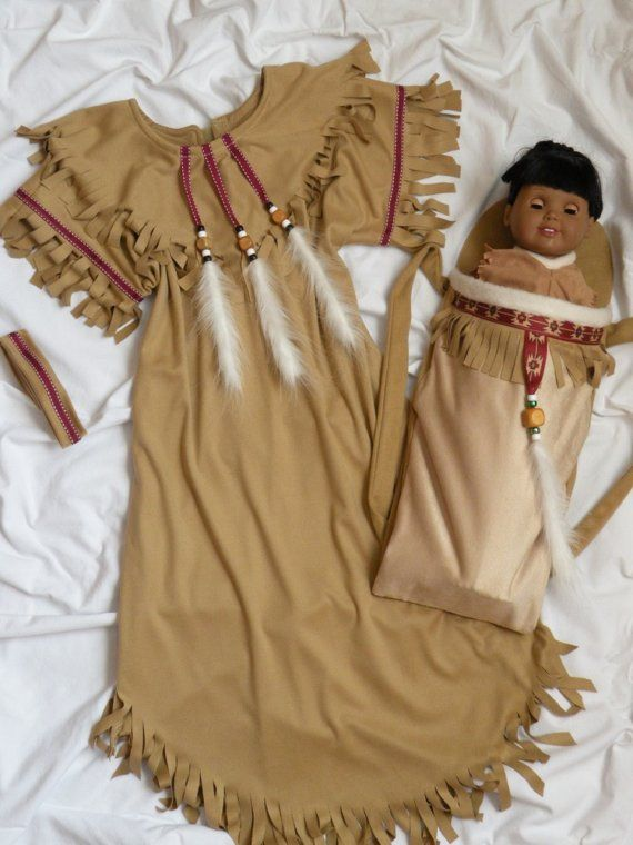Native American Girl Indian Dress Costume plus Dolls Cradleboard Papoose