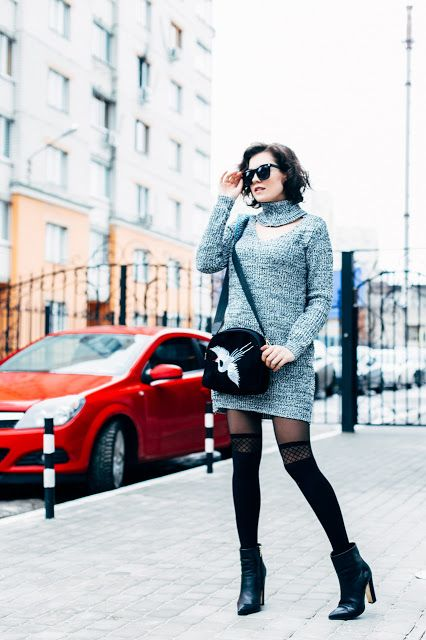 Платье-свитер - Shein  Колготки - Calzedonia / Similar here  & here  Сумка - Yoshop  Обувь - Paolo Conte / Similar  Очки - Yoshop      Эт...