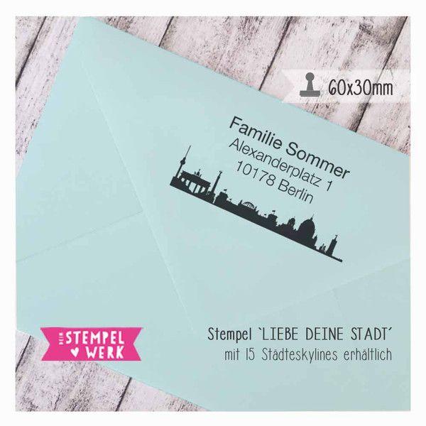 """Adress Stempel """"Liebe deine Stadt"""" 60x30 mm  von dein-Stempelwerk auf DaWanda.com"""