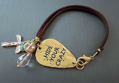 Cowgirl Bling HIDE YOUR CRAZY Charms Gypsy BRACELET Leather Hammered metal www.baharanchwesternwear.com