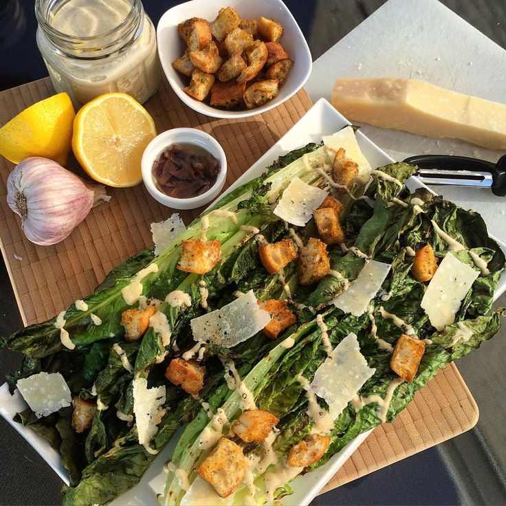 #Grilled Caesar salad with freshly baked croutons and a homemade dressing that I swear was derived from the original potion to ward off vampires... It appears to work, although we have bats out back we've yet to see a vampire! #Garlic #foodphotography #foodstyling #food @zimmysnook