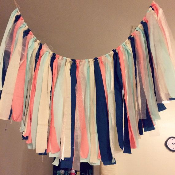 ♡Coral, Navy Blue, and Mint Fabric Garland♡ ♡This uses coral, navy blue, mint, ivory and light pink see through fabric. ♡This garland is a