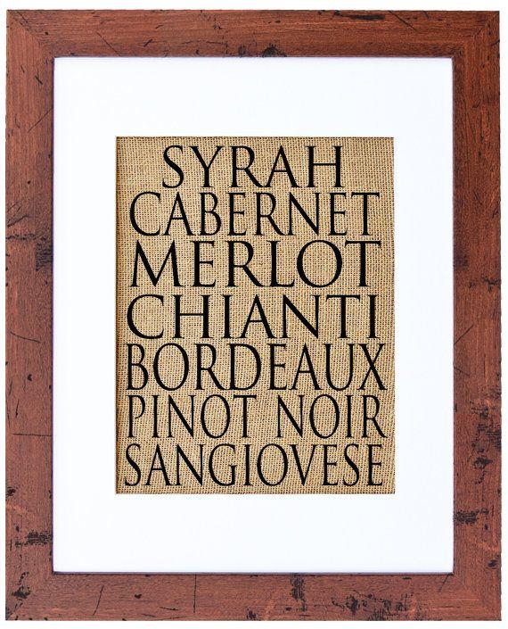 Wine Varietals, Burlap art, Burlap Wall Decor, Wine Cellar, Beer, Spirits, Art for the Kitchen, Frame Included