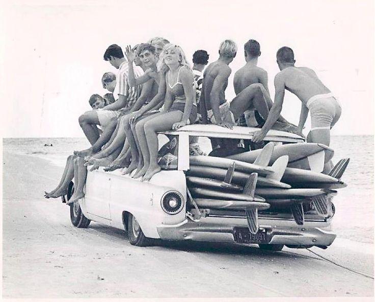 Teenage surfers in Florida, 1960s.