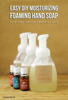 Want to make your own foaming hand soap at home? It's not hard! Try my super easy recipe using a few simple and non-toxic ingredients like liquid castile soap, water, moisturizing liquid carrier oils, and essential oils. This homemade version costs pennies to make a single batch and your hands will thank you!   therisingspoon.com
