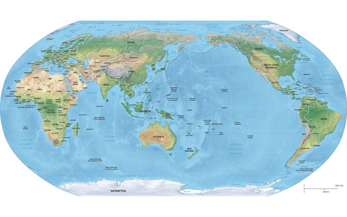 Download wallpapers map of the Earth, 4k, geographic map, Earth relief map, continents, oceans, seas, geography, World map