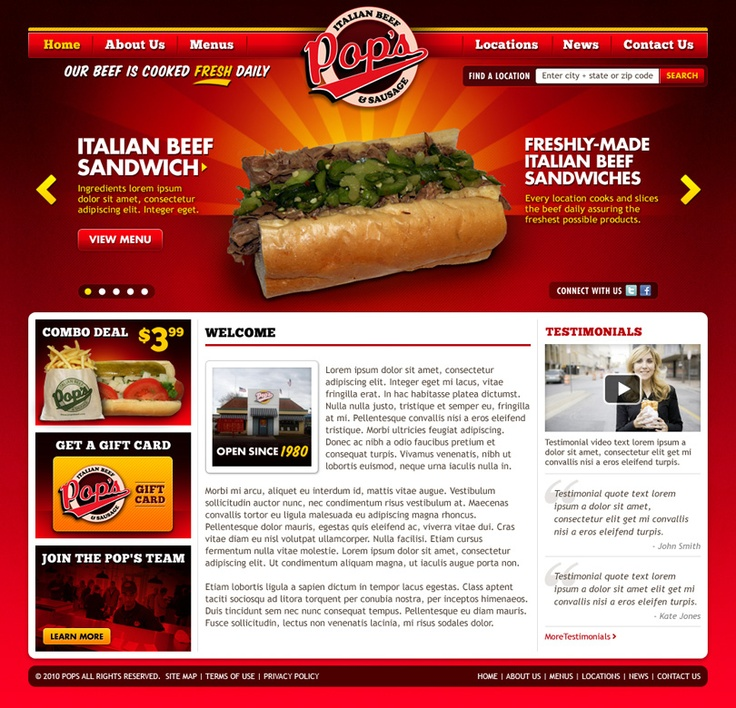 Pop's Italian Beef & Sausage • Legendary Chicago area sandwich shop Pop's Italian Beef & Sausage needed a new website. They wanted a site that visually communicated the BIG taste of their adored sandwiches. I was happy to fill their order, serving up some tasty art direction and design.