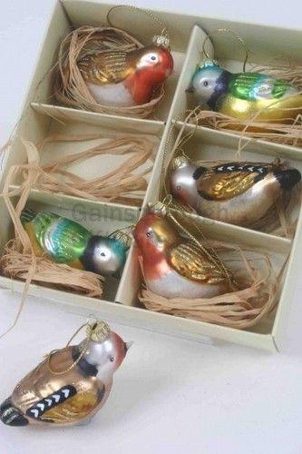 6 x Glass 'Little Bird' Vintage Style Christmas Tree Baubles Xmas Decorations | eBay