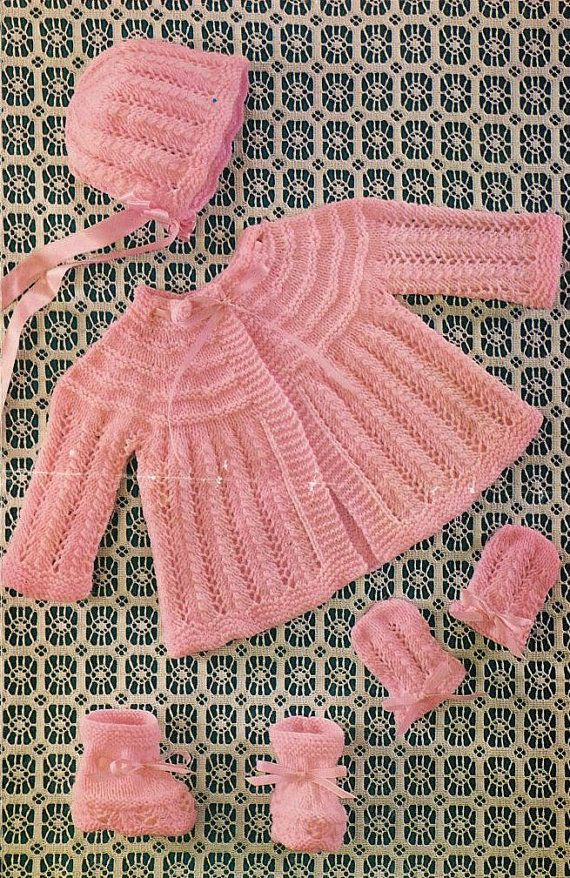 baby matinee coat vintage knitting pattern PDF by Ellisadine