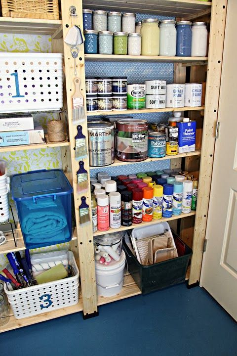 So many great paint storage ideas here.  Magnets for brushes, lidded jar for rollers, lots of bin AND color organized.