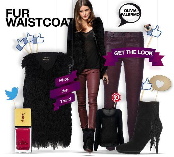 Olivia Palermo - get the look - shopthemagazine.com #oliviapalermo #furwaistcoat