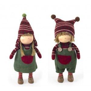 Μάλλινη Χειροποίητη Κούκλα Αγόρι & Κορίτσι Με Πλεκτό Κασκόλ & Καπέλο 38εκ