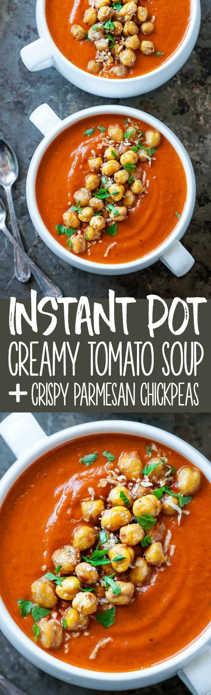 We're loving this quick and easy Instant Pot Creamy Tomato Soup with Crispy Parmesan Chickpeas! Stove-top instructions also available below. Vegetarian + GF