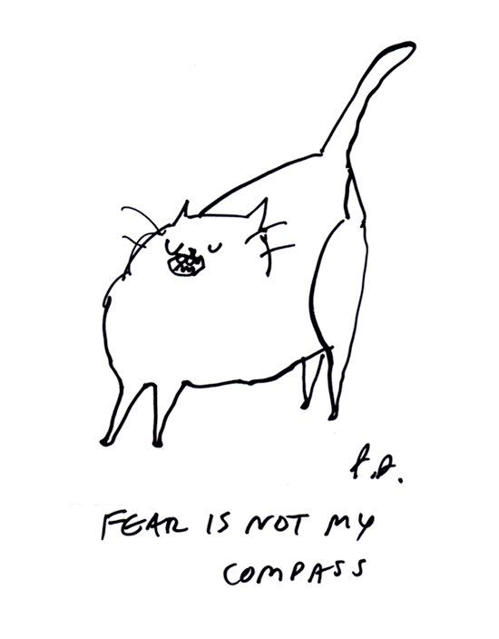 """""""Fear is not My Compass,"""" by Jamie Shelman, for sale on Etsy: https://www.etsy.com/listing/159471385/fear-is-not-my-compass-cat-print-wall?ref=favs_view_2"""