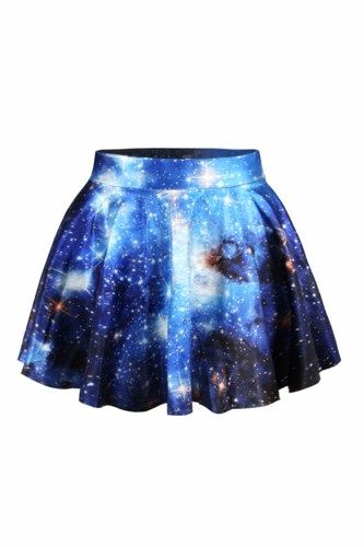 Galaxy Print High-waisted Pleated Skirt