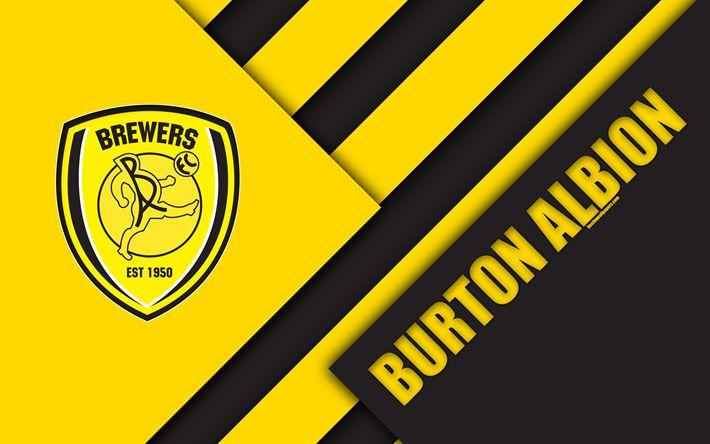 Download wallpapers Burton Albion FC, logo, 4k, yellow black abstraction, material design, English football club, Burton-upon-Trent, England, UK, football, EFL Championship