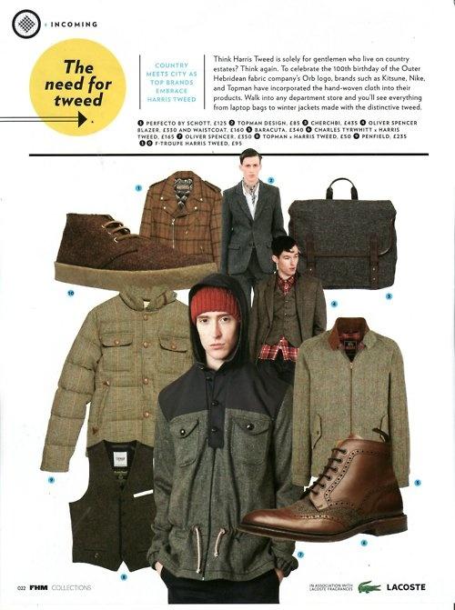 baracuta g4 harris tweed in FHM magazine