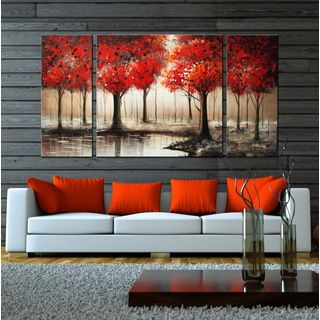 Hand-painted 'Through The Trees' 3-piece Gallery-wrapped Art Set | Overstock.com Shopping - The Best Deals on Canvas