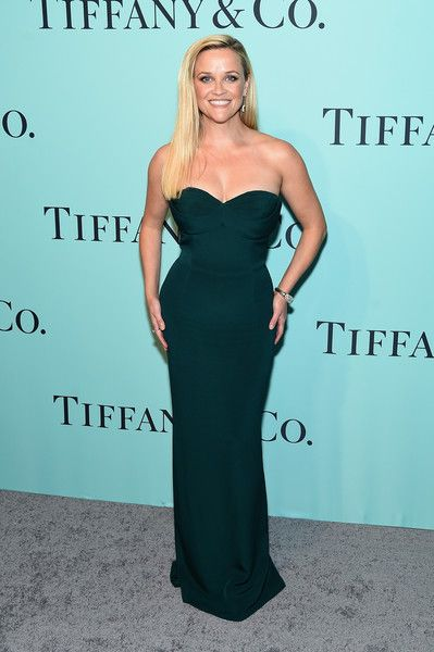 Reese Witherspoon Strapless Dress - Reese Witherspoon cut an hourglass silhouette in this strapless green column dress by Brandon Maxwell at the Tiffany & Co. Blue Book Collection Gala.