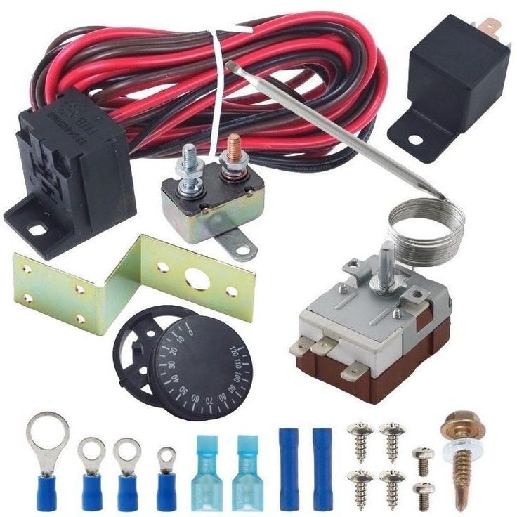 Single Electric Fan Adjustable Thermostat Relay Wiring Switch Kit
