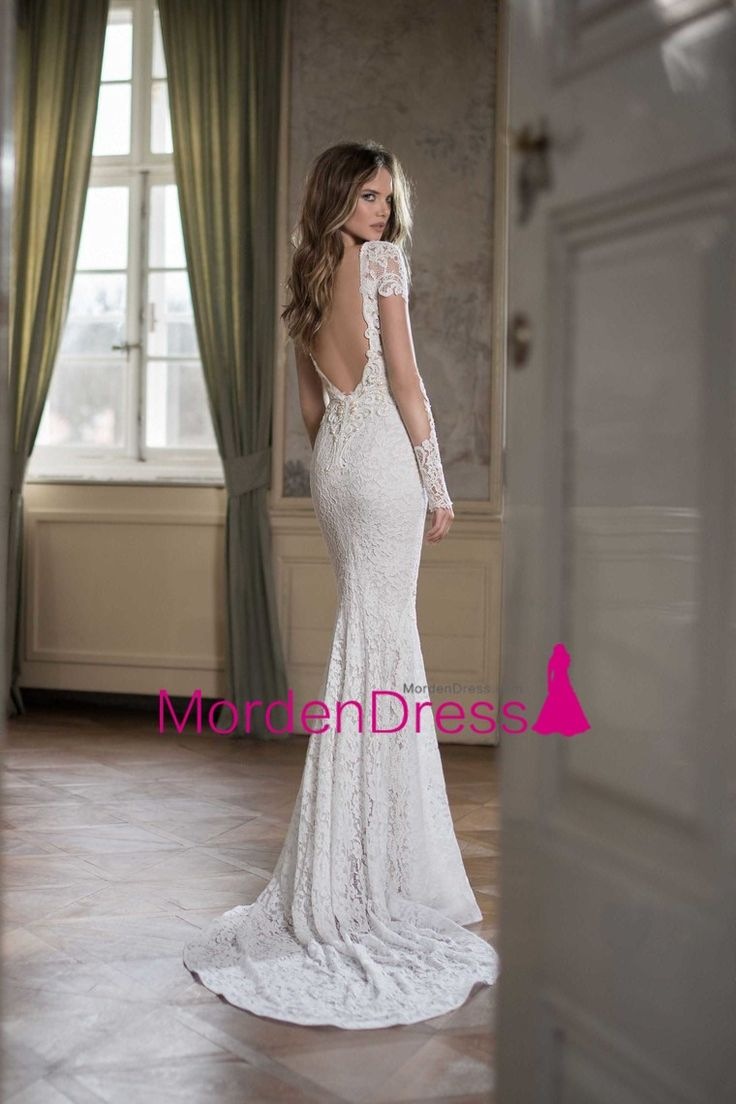 2016 Wedding Dresses Scoop Mermaid Lace With Applique And Beads Sweep Train