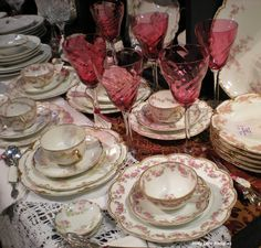 Haviland Limoges China and Cranberry Glass ♥