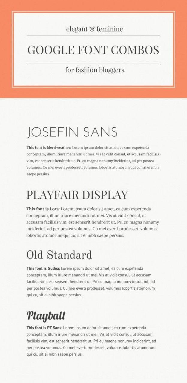 Elegant Google (and Canva) Font Pairings: Josefin Sans + Merriweather • Playfair Display + Lora • Old Standard + Gudea / Gidole • Playball / Lobster + PT Sans