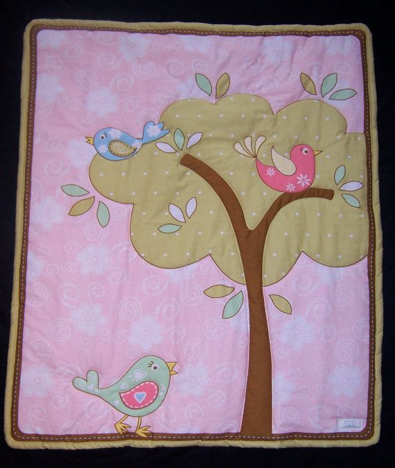 SALE: Now $25.00 Was $50.00. This adorable song birds quilt will surely steal the heart of any little girl in your life. This 34 x 40 baby