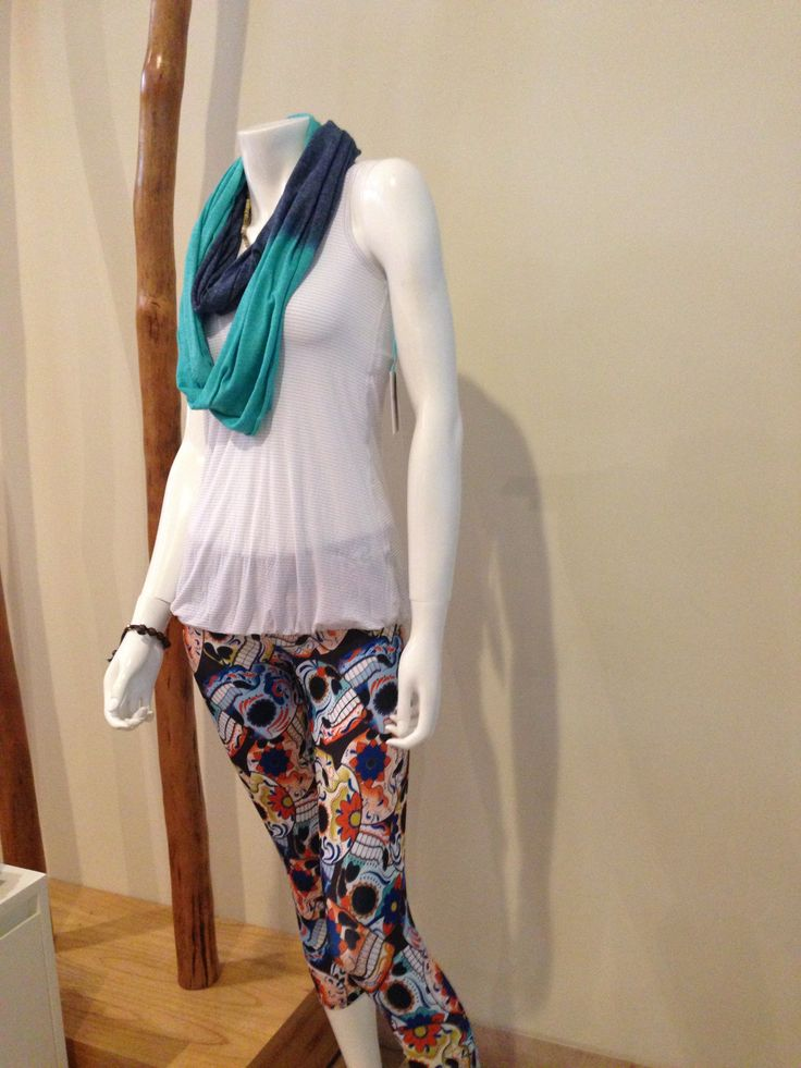 Be styled for yoga and beyond: ONZIE Capri Pant, BEYOND YOGA lightweight running top and scarf.