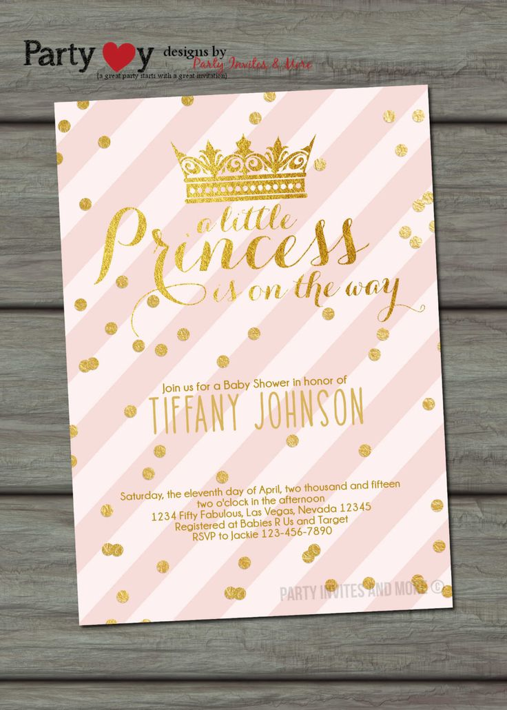 Pink and Gold Baby Shower Invitation, Princess Baby Shower Invitation, Girl Baby…
