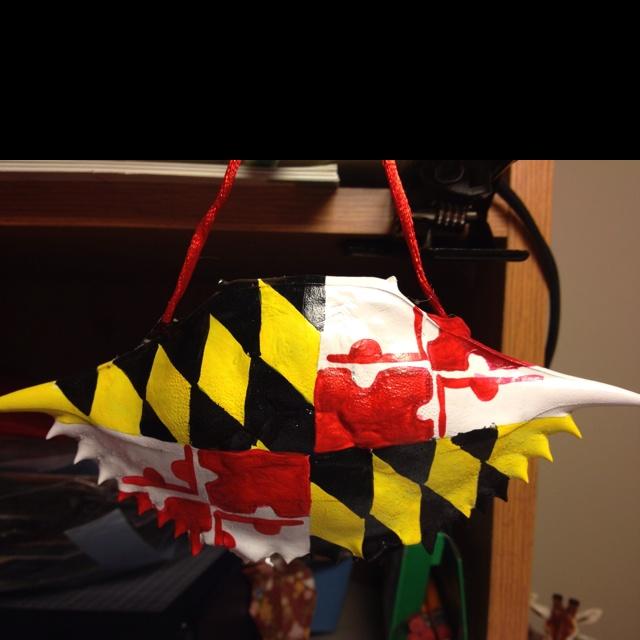 Maryland flag crab shell ornament: Maryland Flag, Bmore