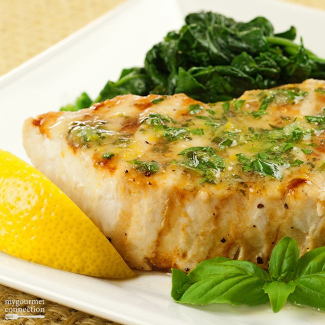 Grilled Swordfish with Lemon-Basil Butter from MyGourmetConnection