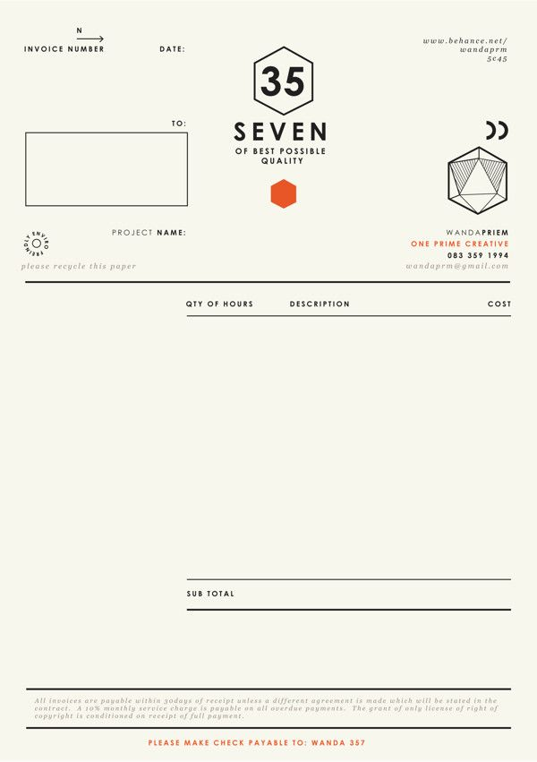 86 Best Invoice Design Images On Pinterest | Invoice Design