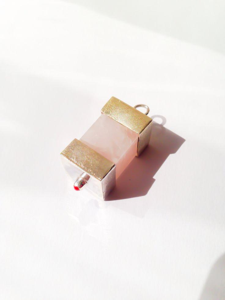 Pandant: silver, pink quartz, red hlass cabochon