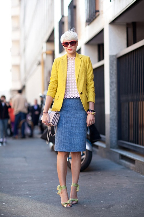 .Summer Outfit, Fashion Models, Fashion Style, Blue And Yellow Style, Street Style, Elisa Nalin, Bright Colors, Milan Fashion Weeks, Yellow Blazers