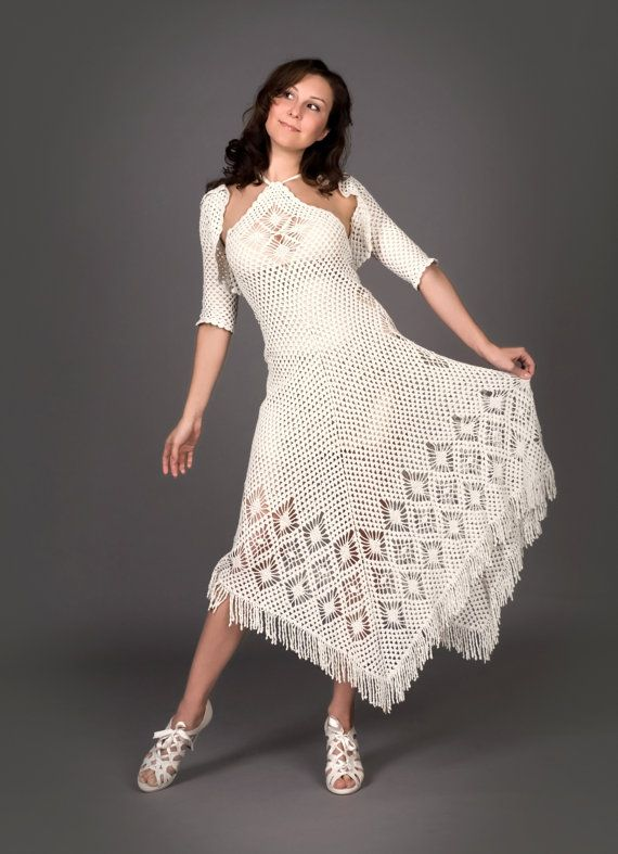 White exclusive crochet dress with crochet bolero by LecrochetArt